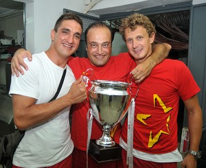 Club President Matthew Bonello (centre) celebrating the 2011 League victory, the 20th in the Club's history, with Tamas Molnar (left) and Vladimir Gojkovic (right)