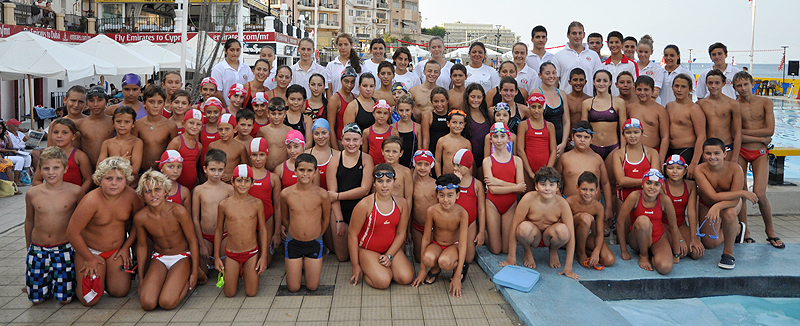 The numerous swimmers who took part in the annual swimming competitions. Also included are the organisers and coaches.