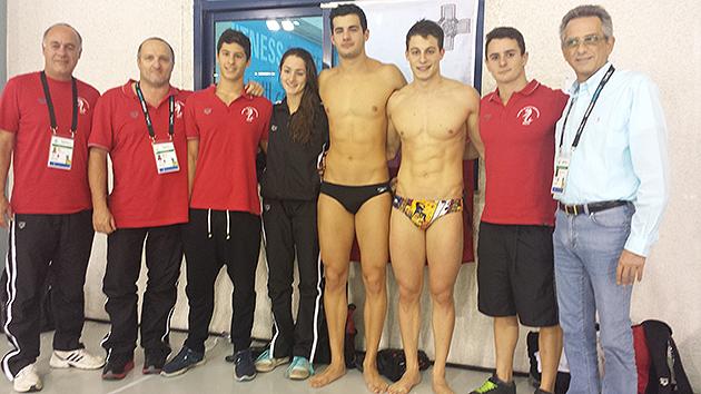 Left to Right: Mark Galea, ASA vice-president swimming, Andy Colbourn, national swimming coach, Neil Muscat, Nicola Muscat, Raoul Stafrace, Matthew Zammit, Julian Harding, Joe Caruana Curran, ASA president.